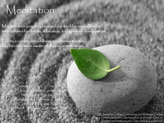 Meditation Group Flier 2014 Schultz Merriweather