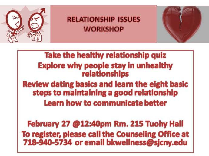 RELATIONSHIP ISSUES WORKSHOP SPRING 2014